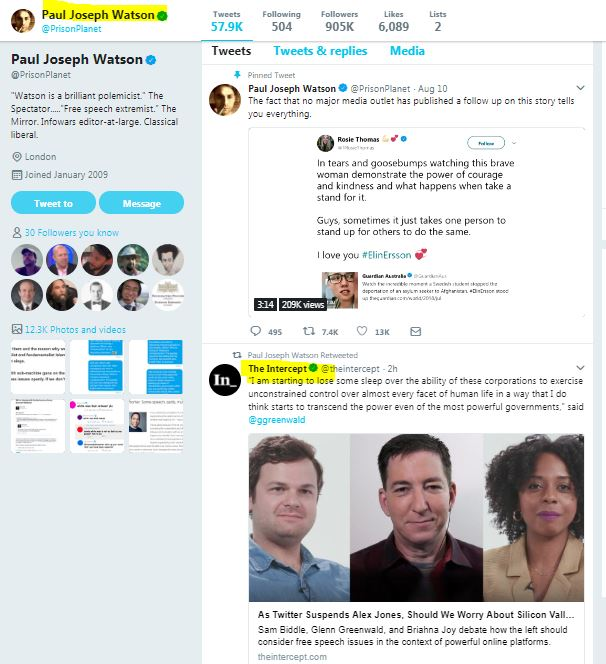 I love it when Infowars retweets the Intercept featuring Greenwald - what do these outlets have in common?