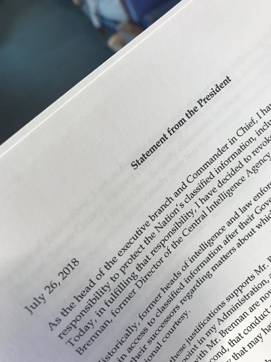 This is the date on the president's statement today sent to the TV pool, stripping @JohnBrennan of his clearance. July 26 is three days after this threat was first made. The letter sent to print pool minutes later does not have the date. WH says it's a mistake. Ok.
