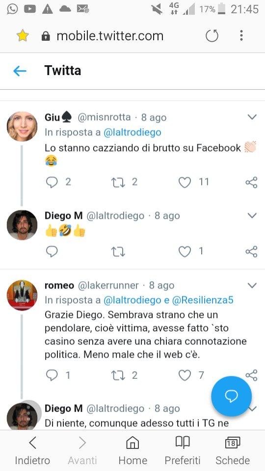 @laltrodiego dice di non aver istigato e non aver supportato minacce? E la spiega questa risposta al suo tweet e la sua approvazione? #Trenord #RaffaeleAriano  - Ukustom