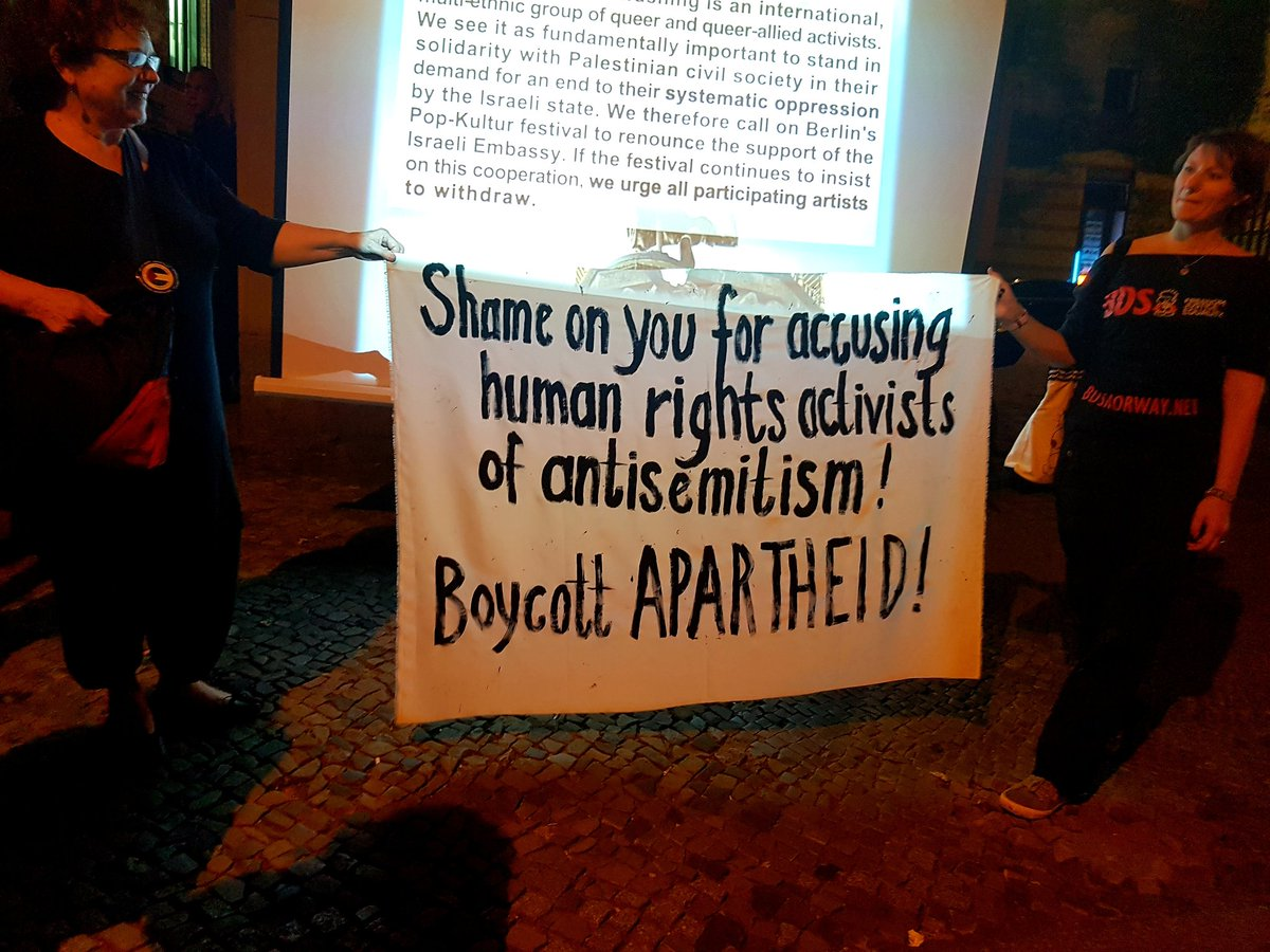 Since Israeli embassy-partnered @popkulturberlin organised a panel about the cultural boycott of Israel but decided to completely exclude speakers who support the boycott, tonight supporters of Palestinian rights in Berlin made sure their voices were heard. #popkultur<br>http://pic.twitter.com/Gv427eClne