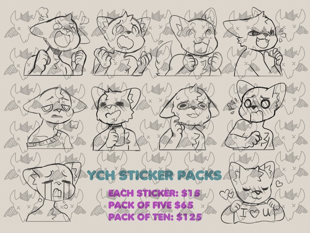 Taking 1 telegram sticker pack! You choose what stickers youd like! Finished product looks like examples shown!  (Tomorrow I head out to a con for about 4 days and it wont be started until after I return!) <br>http://pic.twitter.com/DQir1eQ6jR