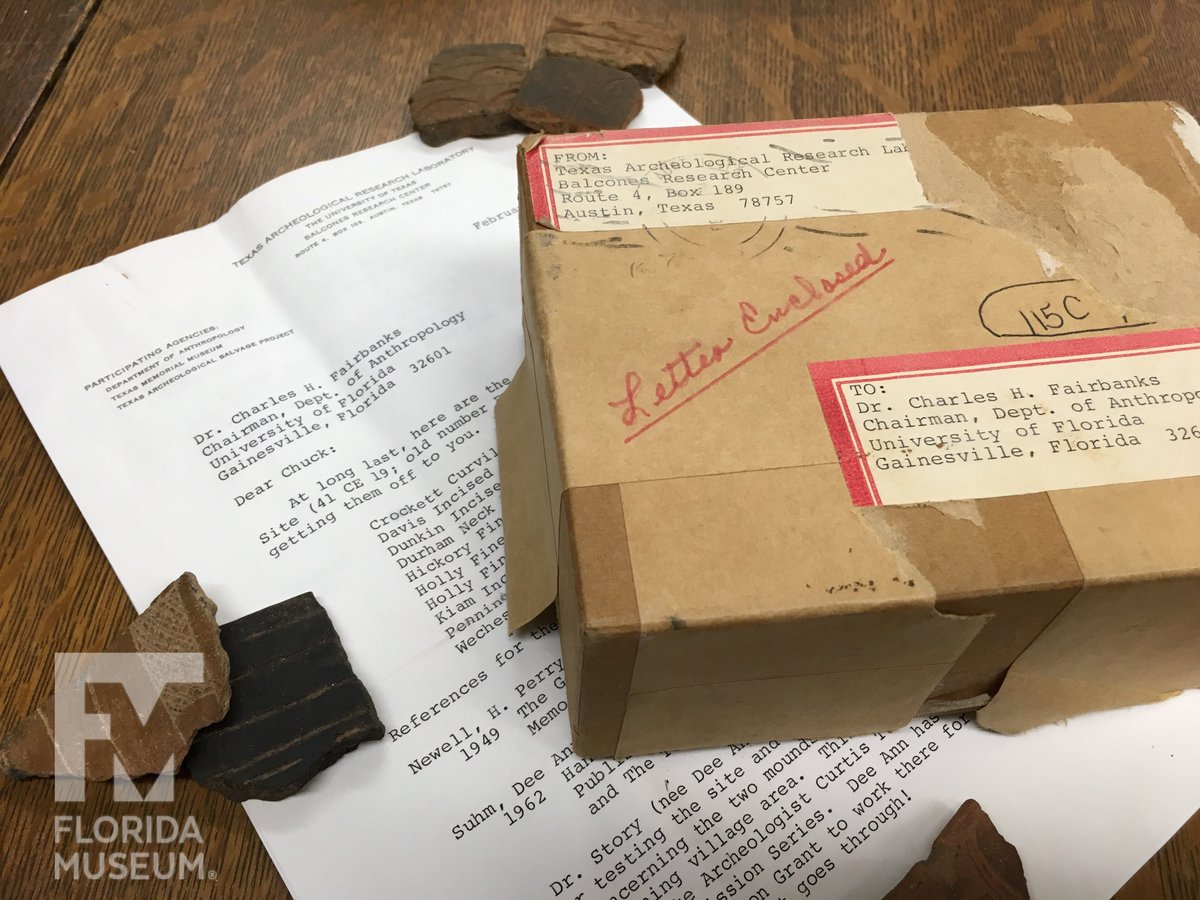 One of our tasks this summer was to inventory and image our collection of Caddoan pottery from sites in Texas and Oklahoma. Some arrived in the 1960s in this very box! Check out our new gallery here:  https://www. floridamuseum.ufl.edu/ceramiclab/ima ge-galleries/caddo/ &nbsp; …  @AnthropologyUF #Archaeology #curation<br>http://pic.twitter.com/jG43R4OP9c