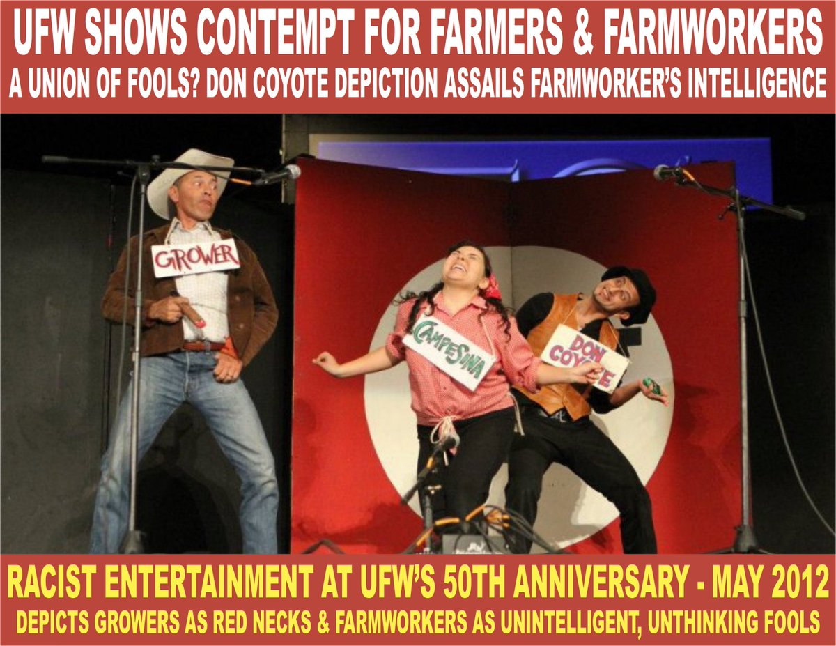 Racist UFW stereotype of Farmers as Red Necks @ their 50th Anniversary Party. UFW depicted Farmworkers as Don Coyote (unintelligent fools). No wonder Farmworkers reject UFW representation. #AgProud #AskAFarmer #Farm365 #FarmToTable #fwvoices #migrant #civilrights @latinoticias<br>http://pic.twitter.com/RBmYXkqJLQ
