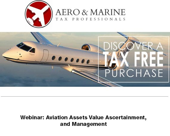 @aeromarinetax is discussing aviation assets value ascertainment and management. Watch the webinar here  http:// ow.ly/eQph30lpV4G  &nbsp;    #bizjet #bizav #aircraftforsale #salestax<br>http://pic.twitter.com/kaWM6fylo2