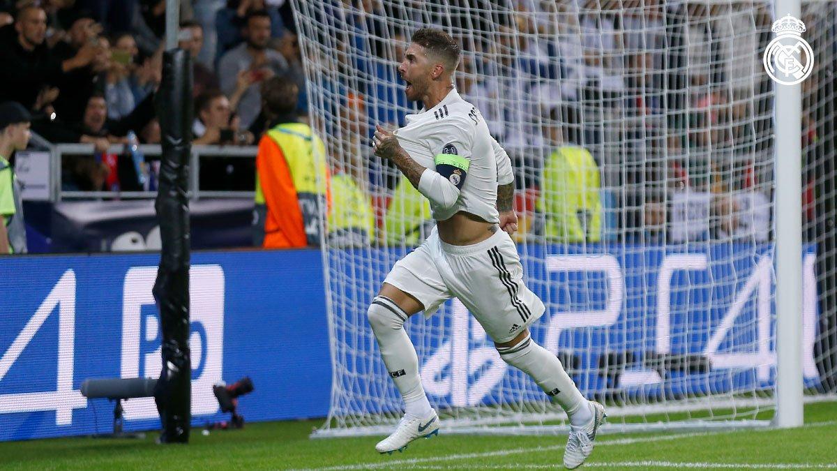 ���� Así celebró @SergioRamos su gol en la Supercopa de Europa. #RMSuperCup | #HalaMadrid https://t.co/vphAhvflSm