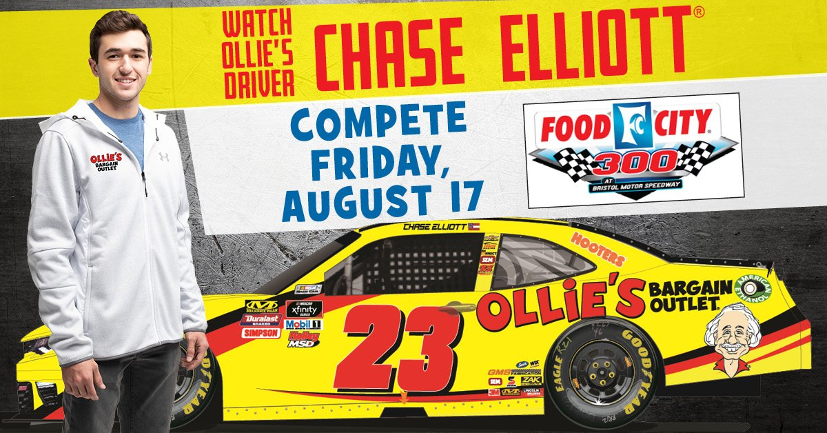 Watch Ollie's driver Chase Elliott compete in the NASCAR Xfinity Series race at Bristol Motor Speedway on 8/17 at 7:30 pm ET on NBCSN! Ollie's is proud to sponsor Chase and the No. 23 Ollie's Chevrolet Camaro.  We wish him and his team the best of luck on Friday! @chaseelliott <br>http://pic.twitter.com/Ma4xVspiXJ