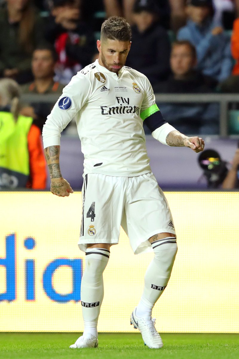 SIUUUUUUU! + Billionaire Strut  Sergio Ramos channeling his inner Cristiano Ronaldo *and* Conor McGregor after his Super Cup goal. 👀