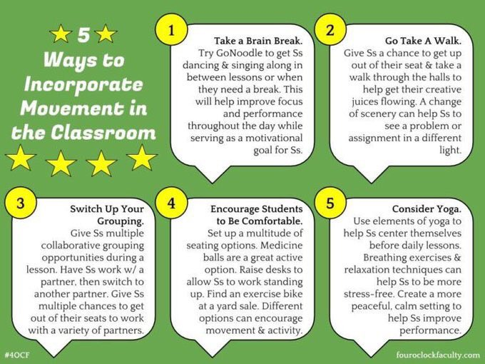 5 movementbased strategies teachers can use with students in the classroom to help them focus