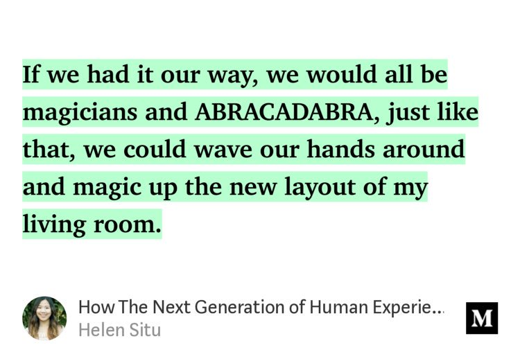 Massive fan of ⁦@HelenSitu, ⁦@michaelgmarkman and team and how they're powering the next generation of experience design. Check out Helen's post on her motivations and thought process for making magic possible.  #UX #VR   https:// medium.com/@helensitu/how -the-next-generation-of-human-experiences-will-be-designed-92556ce6e53d?source=twitterShare-fa6ec8a76c4b-1534365517 &nbsp; … <br>http://pic.twitter.com/AnHqqCxbiC