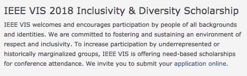 #datavis PIs: forward the info about the #ieeevis Inclusivity &amp; Diversity Scholarship to at least three students who wouldn&#39;t otherwise go to VIS TODAY! We need to reach people who are not on the usual lists / following the right accounts.  http:// ieeevis.org/year/2018/info /inclusion-and-diversity/diversity-scholarship &nbsp; … <br>http://pic.twitter.com/YJeKSTVaqi