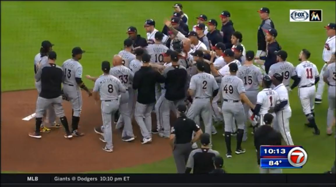 Acuna hit by Urena's first pitch; Braves, Marlins brawl https://t.co/1QAt2T2I4O