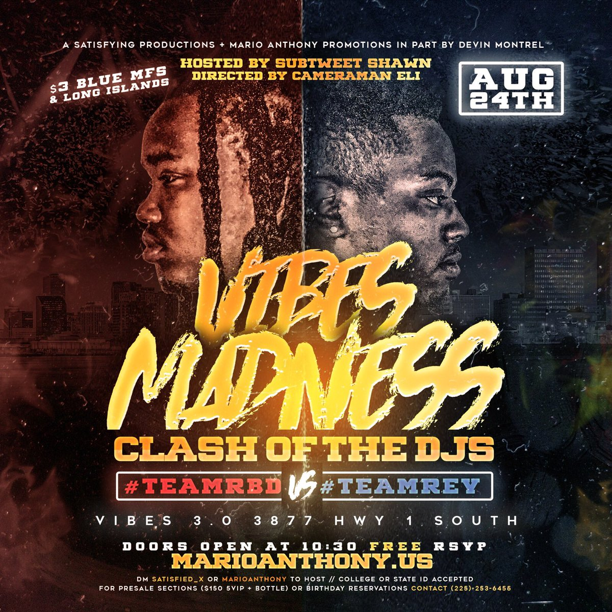 Two of the top DJs in Louisiana will clash on one night at Vibes August 24th which team are you? #VibesMadness   .         #TeamRBD or #TeamREV   RSVP now at  http:// marioanthony.us  &nbsp;  <br>http://pic.twitter.com/ZMhYgBCSq0