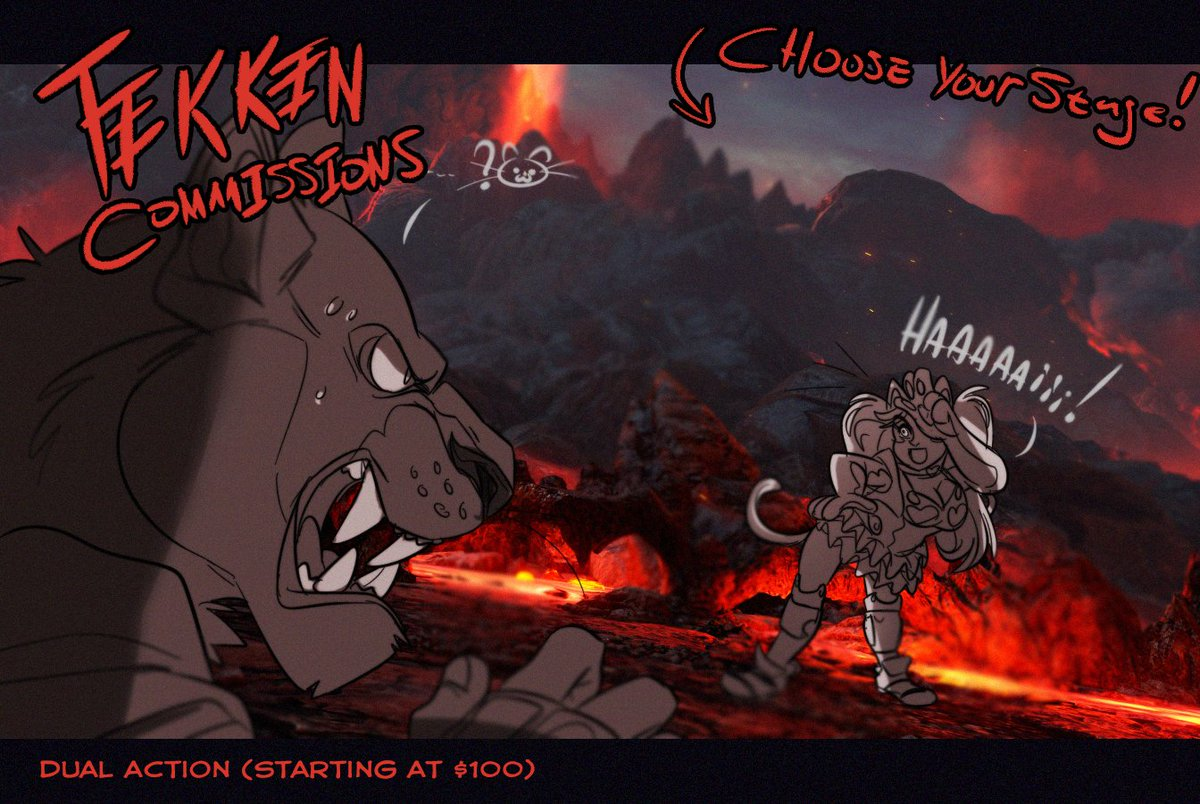 INRTODUCING;; Tekken commission formats! Think of any tekken character, choose a stage (T7 only) and I&#39;ll draw it. You want them to do a specific move or grab?? Let me know via DM!!~~ #TEKKEN  #TEKKEN7 (Vertical format also available)  <br>http://pic.twitter.com/TXQsZh1w8c