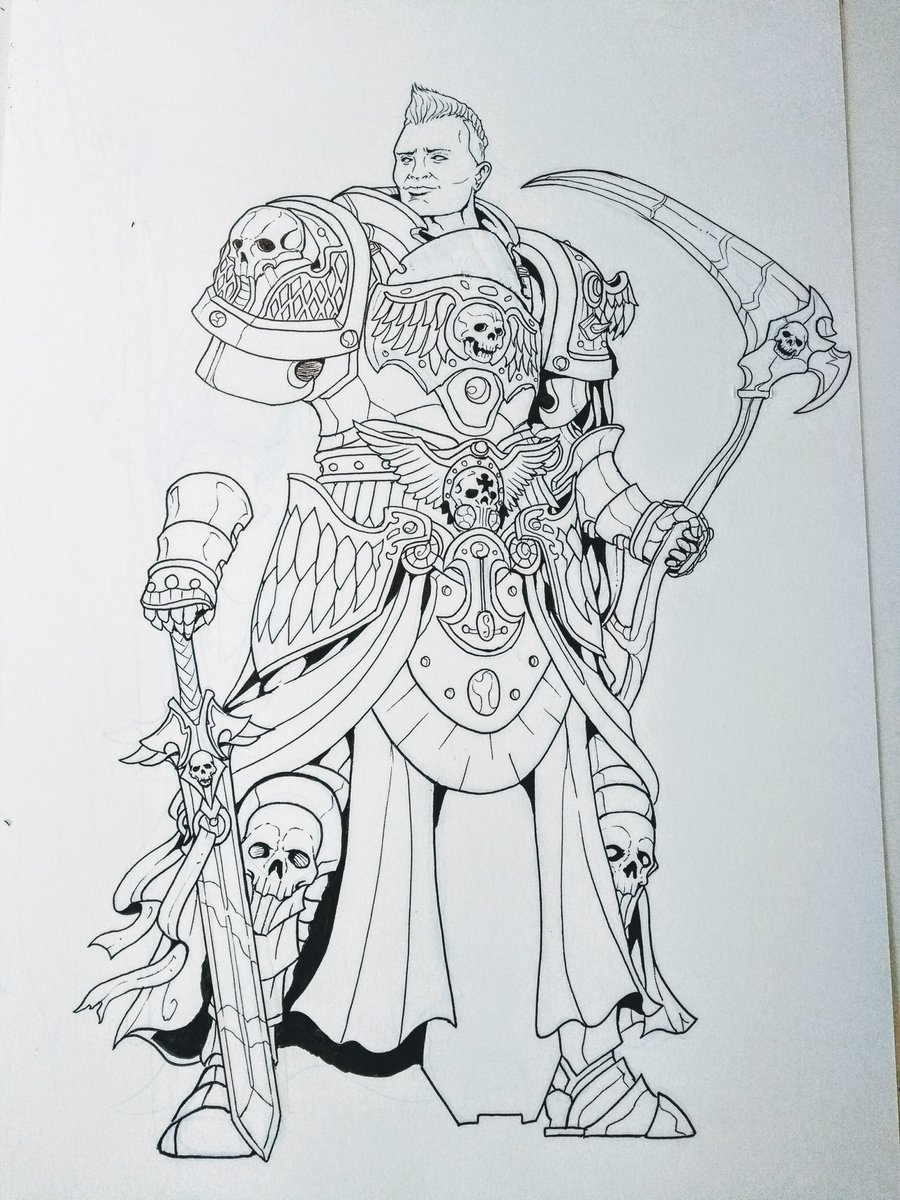 Inking #WIP! Commissions which requested some celebrity references for faces. I tried my best . #dnd #ttrpg #dndart #characterart #characterdesign #paladin #ranger #aasimar #angelofdeath #fantasyart #art #fantasyartist #Fantasy #traditionalart #artistontwitter #inking <br>http://pic.twitter.com/m8sawLwOZR