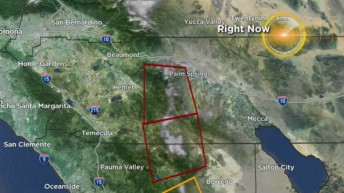FLASH FLOOD WARNING until 5:45 p.m. near the CRANSTON FIRE burn scar. T-storms developing in this area w/ heavy rain near Mountain Center. Rainfall likely over an inch in an hour and could produce flash flooding. @cbsla<br>http://pic.twitter.com/ANr7dxM20w