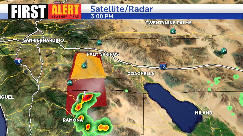 Thunderstorms with heavy rain are quickly developing in our local mountains and more are anticipated through this afternoon. The National Weather Service has issued a Flash Flood Warning for the #CranstonFire burn scar.  http:// bit.ly/KESQWeather  &nbsp;  <br>http://pic.twitter.com/Wczk3kvmYh