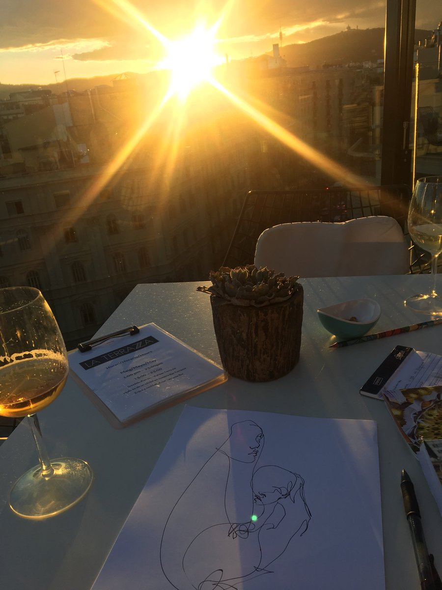On a rooftop bar at the Hotel Negresco Princess in Barcelona at sunset <br>http://pic.twitter.com/a0FD3BfHuA