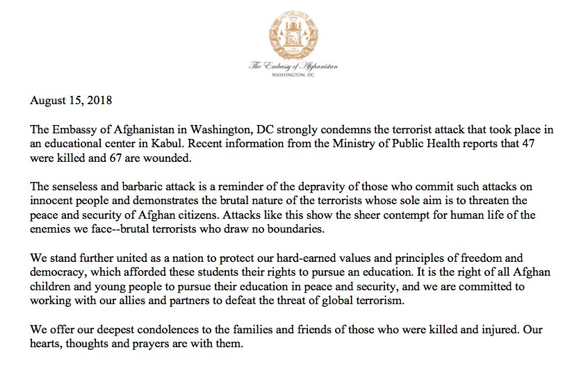 We express our condolences to the families and friends of the young Afghan students and teachers killed and wounded in the horrific attack today at the educational center in Kabul.