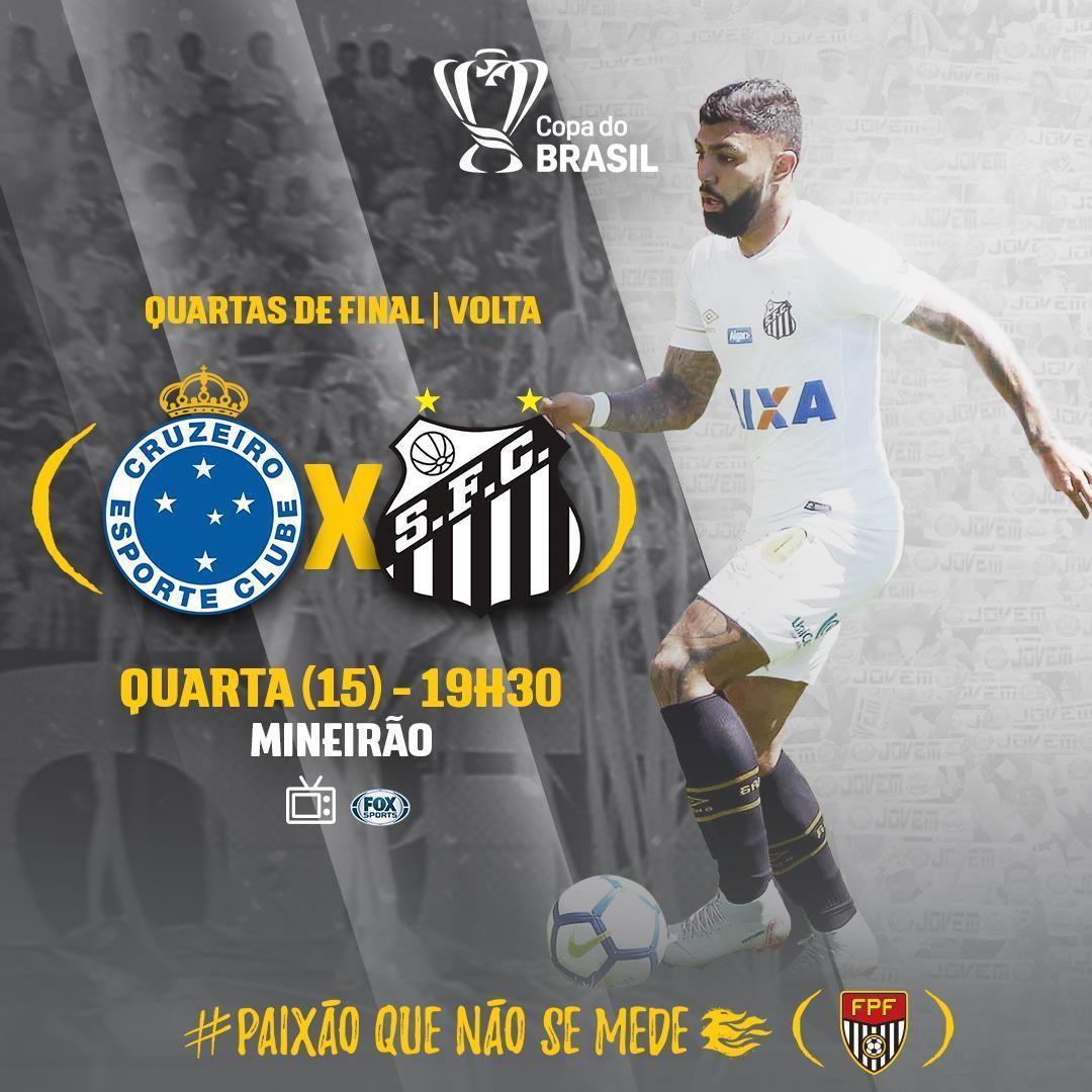 O Santos enfrenta o Cruzeiro na noite desta quarta-feira (15), pela segunda partida das quartas de final da Copa do Brasil. ⚽Cruzeiro x Santos ⏰19h30 🏟Mineirão 📺Fox Sports 🏆Copa do Brasil