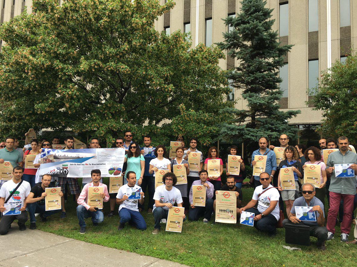Today, in front of @JustinTrudeau office in Montreal, all are saying no to the discrimination against Iranian PR applicants by the government of Canada. #DelayedIranianApplications<br>http://pic.twitter.com/QgNzIeh6hw
