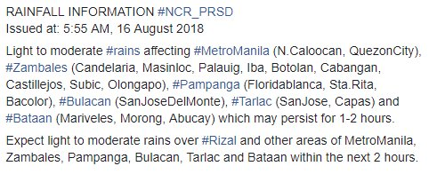 RAINFALL INFORMATION #NCR_PRSD  Issued at: 5:55 AM, 16 August 2018