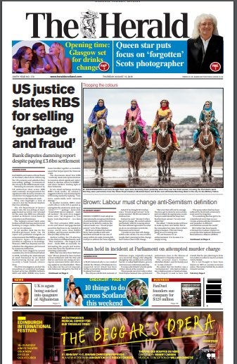 The Herald: 'US justice dept slates RBS for selling 'garbage and fraud'' #TomorrowsPapersToday https://t.co/JcDL9iJzUA