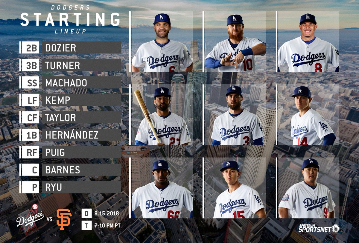 This is the #Dodgers  starting lineup for tonight's finale vs. SF. <br>http://pic.twitter.com/fR6XcYGqwG