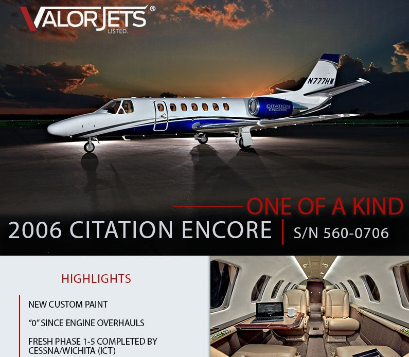One of a Kind #CitationEncore is now available for sale through @ValorJets  New Custom Paint Fresh phase 1-5 completed 0 hrs since engine overhauls Learn more details about this exceptional offer at  http:// ow.ly/Xrp230lqbmE  &nbsp;    #bizjet #bizav #aircraftforsale #businessaviation<br>http://pic.twitter.com/0FSeMnKz7M