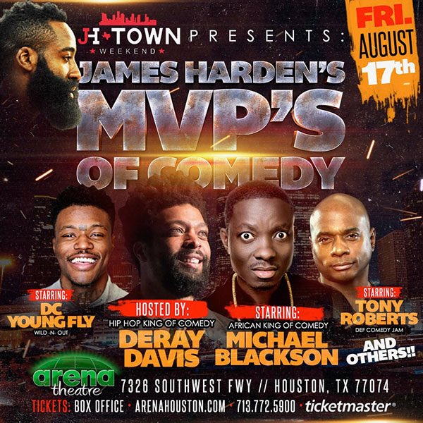 Don't miss @JHarden13's MVP's of Comedy this Friday! 🎟 Rockets.com/JHTown18