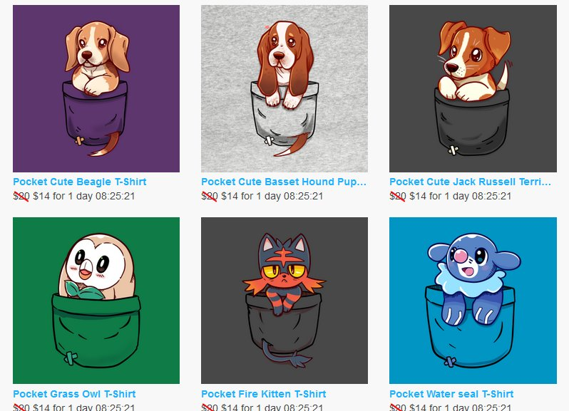 LRT: Woo! I don&#39;t share this one often but I have a second TeePublic account that&#39;s full of only Pocket designs in there :3 I have mainly TONS of dogs but I have these guys too ^w^  Thanks @TodoNintendoS !!   https://www. teepublic.com/user/techrapoc kets &nbsp; … <br>http://pic.twitter.com/euYq0gb0ei