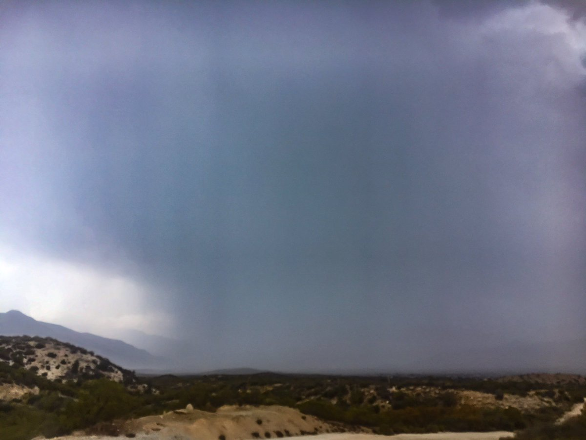 A #severethunderstorm and #flashflood warning issued for areas affected by the #CranstonFire  You can even see rain coming down over #PinyonPines @LocalTwo at 5:30 #localweather #localnews #CoachellaValley<br>http://pic.twitter.com/SHZtvb9YpJ