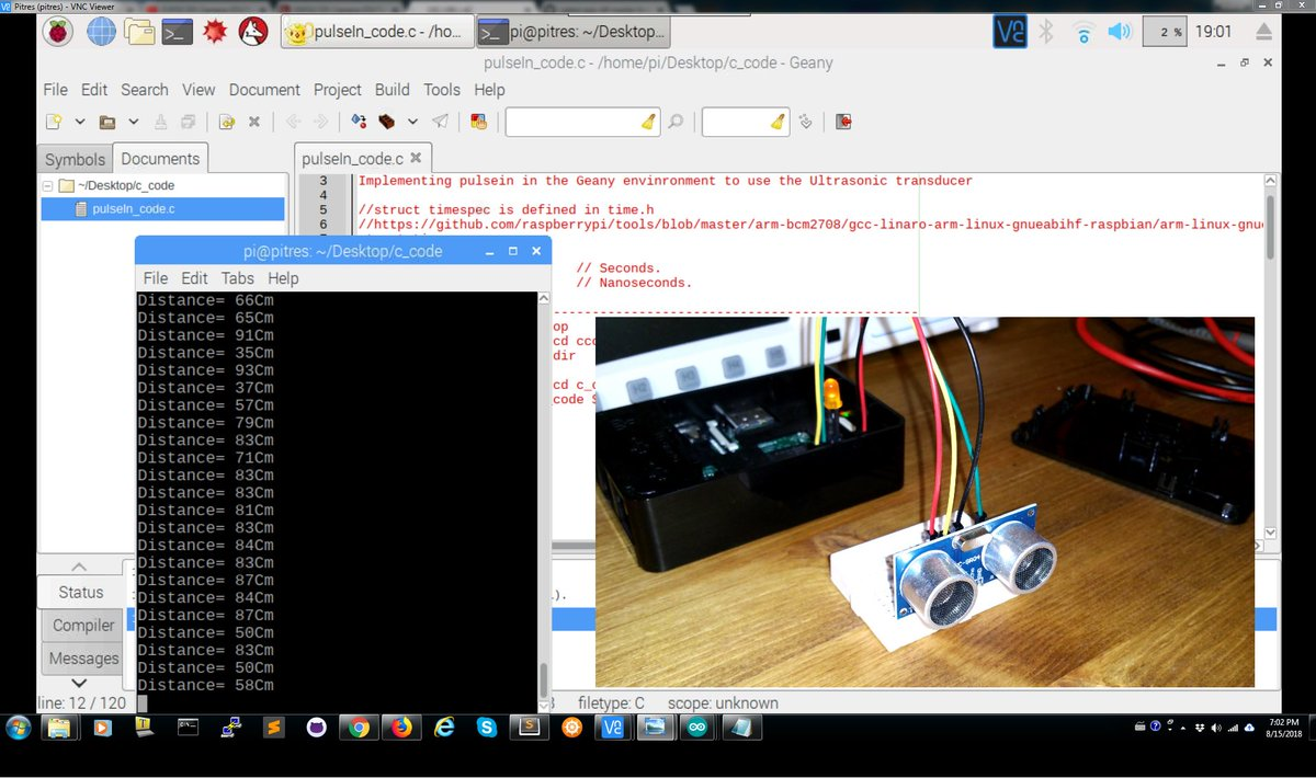 Hcsr04 Hashtag On Twitter Wiringpi Serial Library Editor To Program The Raspberrypi Using C And Testing My Function Measure Distance With Ultrasonic Sensor