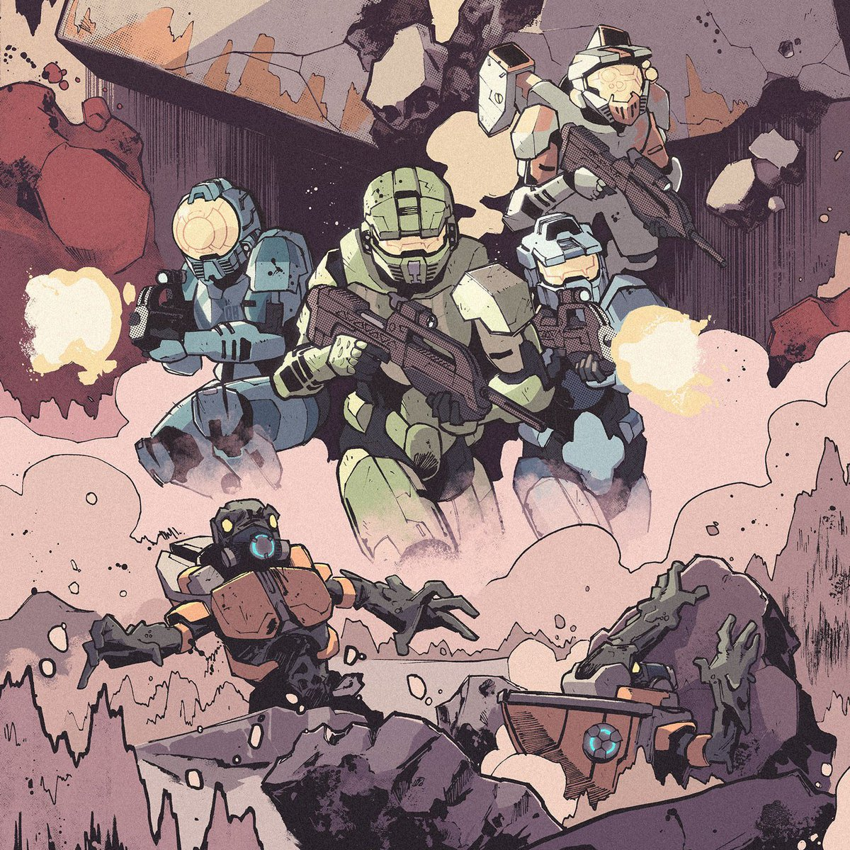 Trapped and surrounded by the Covenant, Blue Team must work together with Insurrectionist rebels to survive. The third and final issue of Halo: Collateral Damage has arrived – get yours from @DarkHorseComics today!  https://www. darkhorse.com/Comics/3001-92 8/Halo-Collateral-Damage-3 &nbsp; … <br>http://pic.twitter.com/7jXncknv4C