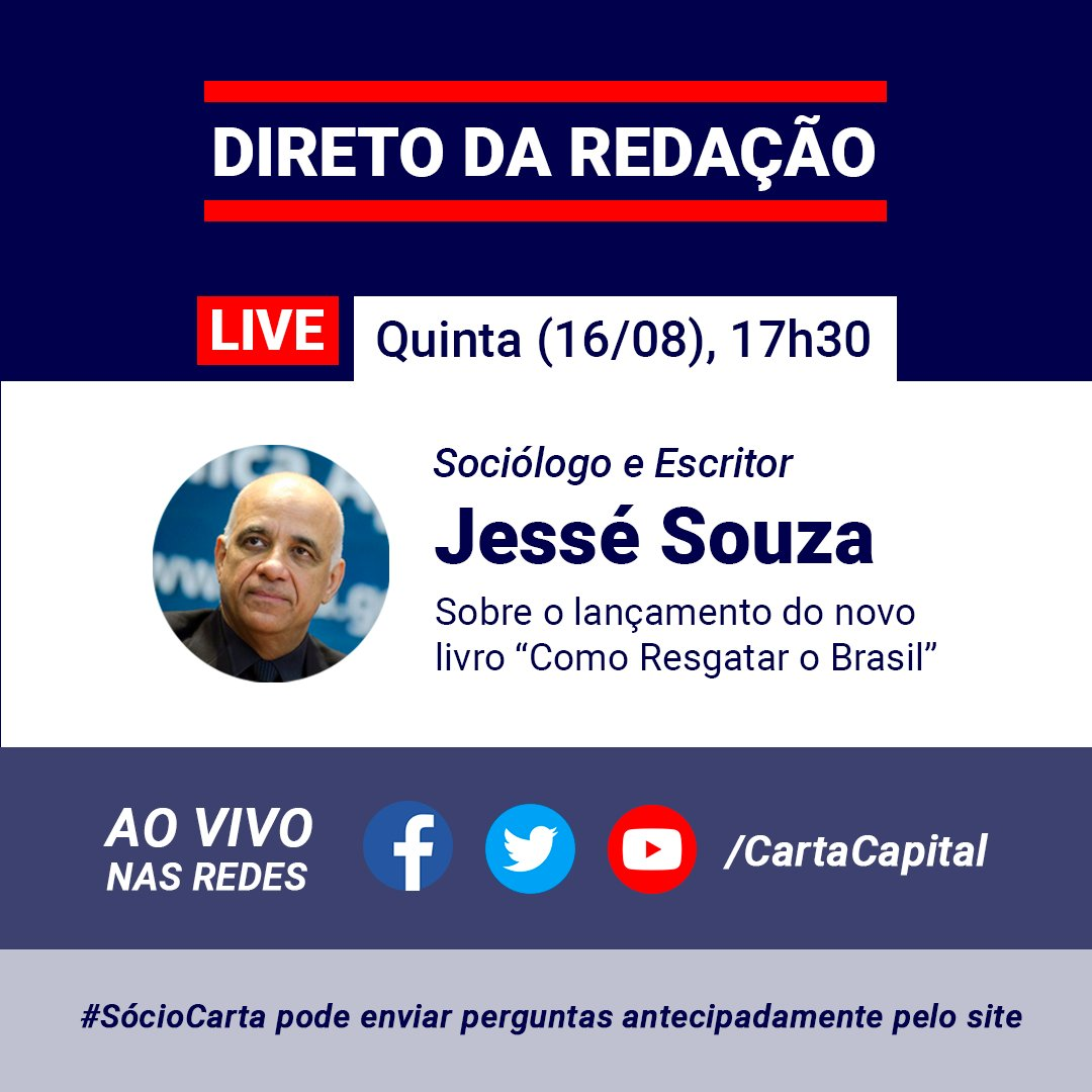 ANOTE NA AGENDA: o sociólogo e escritor JESSÉ SOUZA estará ao vivo no Direto da Redação desta QUINTA, a partir das 17h30, para falar sobre seu novo livro, 'Como Resgatar o Brasil'. Fiquem ligados!