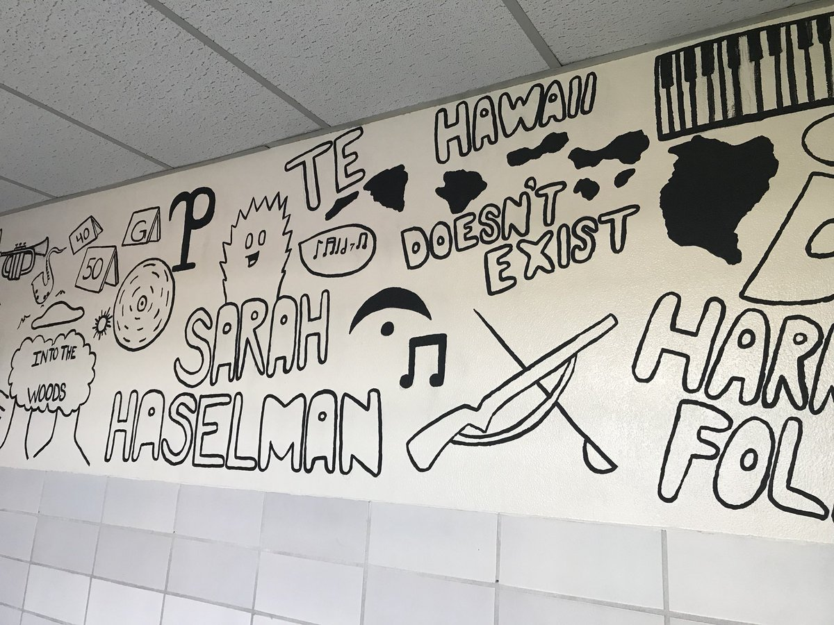 BHS Class of '18 alumna Kiarra Reynolds created an amazing mural outside of the band/choir hallway that includes some history, meaningful pictures, inside jokes, and the names of every music teacher BHS has seen. Inspired by how creative our students are at Bath! <br>http://pic.twitter.com/LtrqULiHrJ
