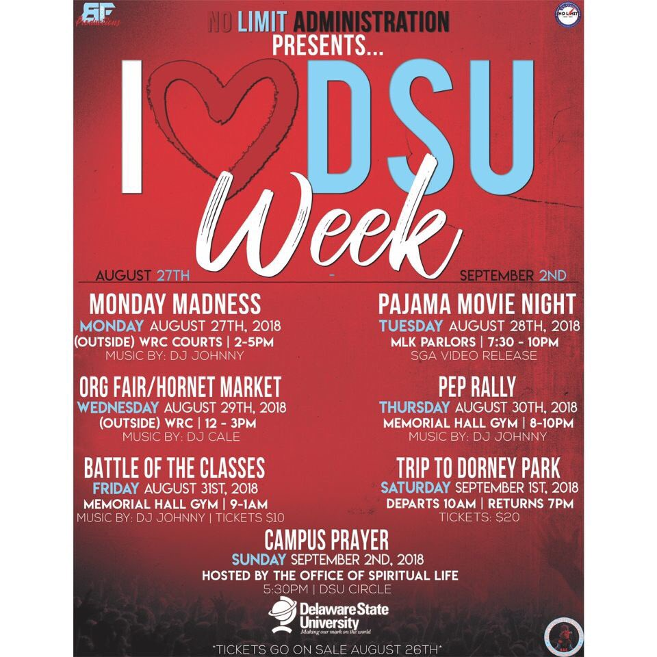 ATTENTION HORNETS  It's that time .... I  DSU Week is here. Let's start the school year off right. A week full of positive vibes and great energy  August 27-September 2nd 2018#dsu19 #dsu20 #dsu21 #dsu22<br>http://pic.twitter.com/kv0mFZuVZJ