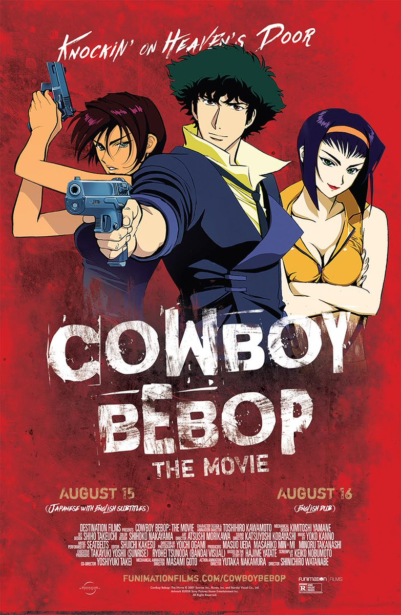 Shucks howdy! #CowboyBebop is back in theaters! Get your #BebopMovie tix here:  http:// bit.ly/bebopmovie  &nbsp;    &amp; RT for a chance to win an official poster from @FUNimation!<br>http://pic.twitter.com/7doAhxMCr9