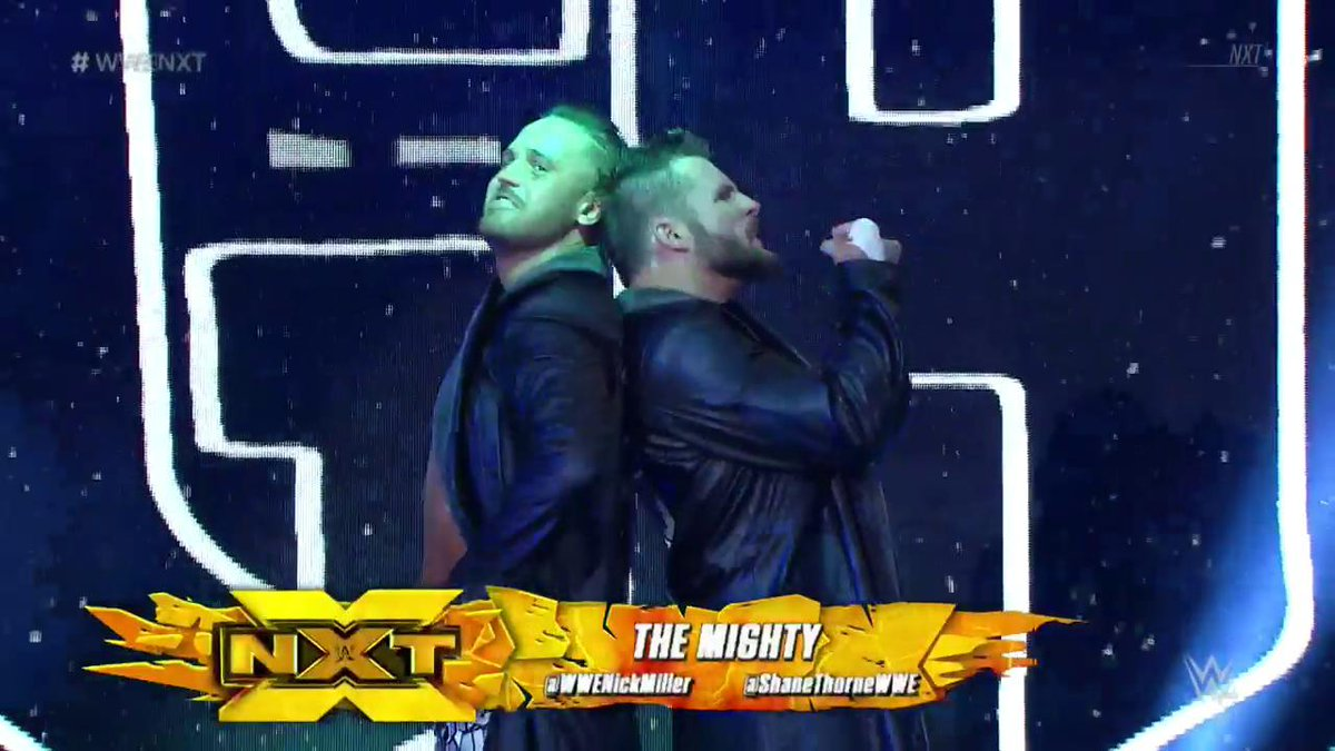 .@ShaneThorneWWE &amp; @WWENickMiller looking mighty ready for this matchup! #WWENXT <br>http://pic.twitter.com/sz9O6zDG6Y