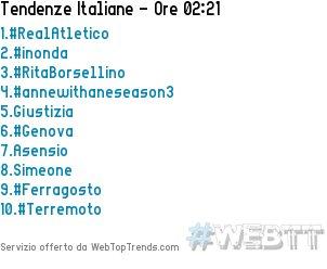 1.#RealAtletico2.#inonda3.#RitaBorsellino4.#annewithaneseason35.Giustizia16/08/2018 02:21 #WebTT  - Ukustom