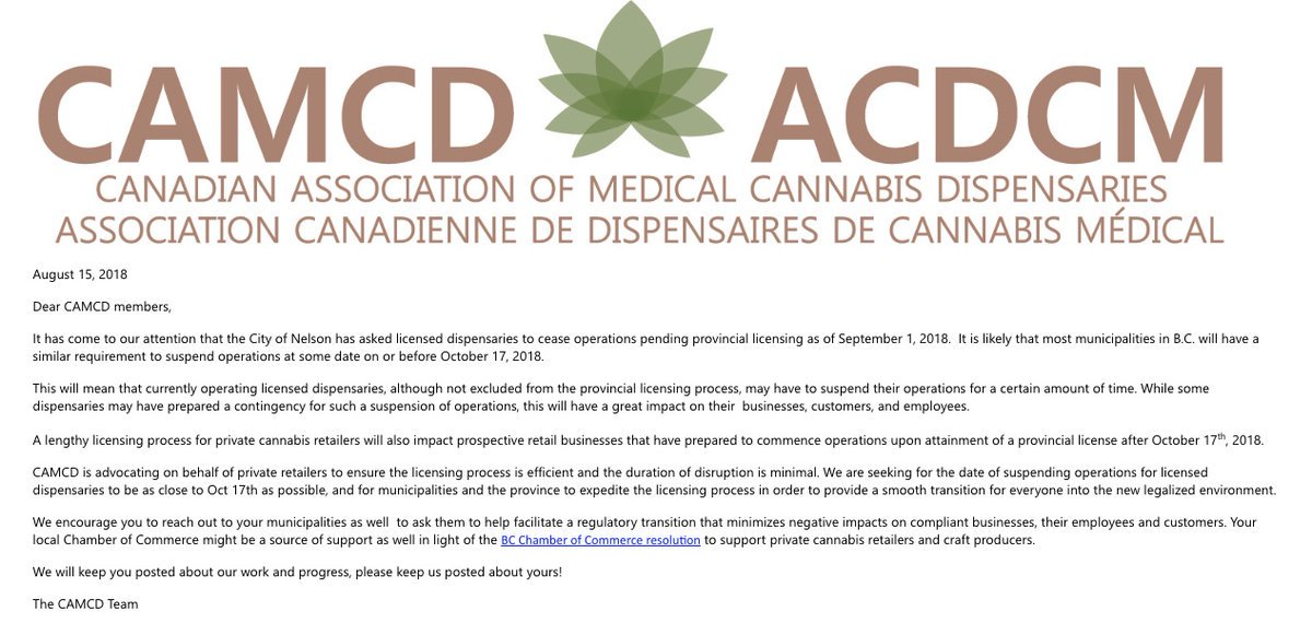 - @CAMCD_ca reports City of Nelson has asked licensed dispensaries to cease operations and get licenses under the new B.C. framework. @CannabisCCI can help existing dispensaries all over B.C. apply for retail cannabis licenses under the new framework <br>http://pic.twitter.com/4m1NRUKeOa