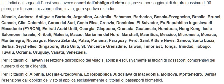 Questi sono i paesi per cui si può venire in ITA direttamente, in aereo, senza visti (MinEsteri) Ogni anno arrivano oltre 16 milioni di extracomunitari (BdI) [meno di 1% per mare] Quanti restano senza permesso?  Cosa viene fatto per 'bloccare l'invasione' a Malpensa e Fiumicino ?