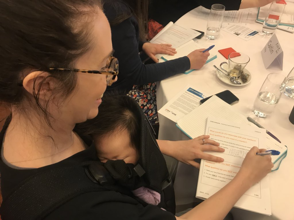 Seriously, #WomeninSTEM are powerhouses  Here is @mcdougall_annie at our #STEMsidebyside workshop with her newest addition <br>http://pic.twitter.com/U0NJlKI8YI