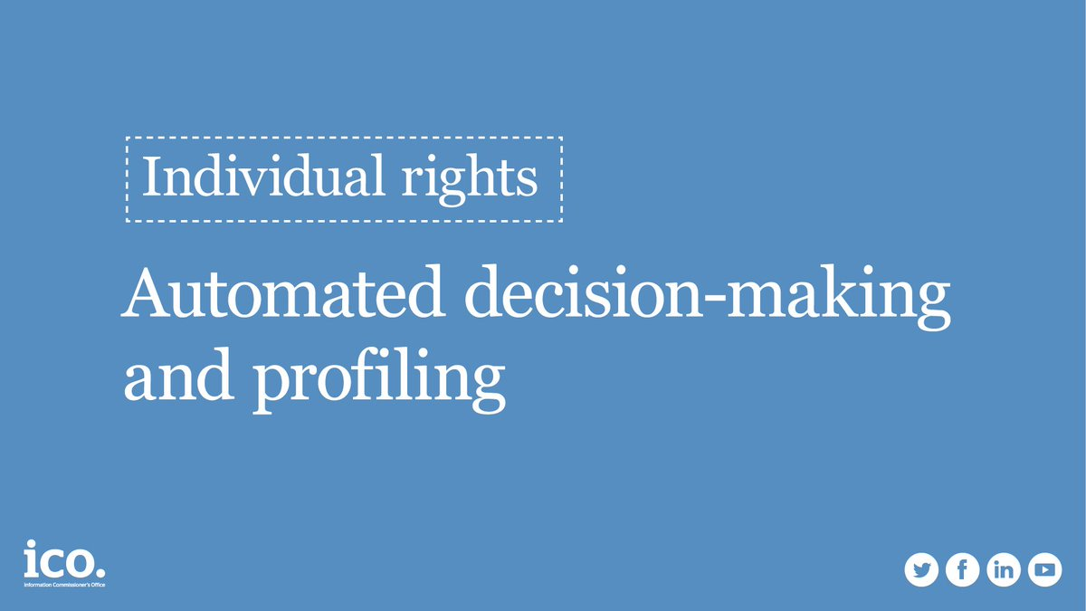 Read our detailed guidance on automated decision-making and profiling:  https:// ico.org.uk/for-organisati ons/guide-to-the-general-data-protection-regulation-gdpr/automated-decision-making-and-profiling/ &nbsp; …  #ukbizlunch <br>http://pic.twitter.com/i691B5WtwU
