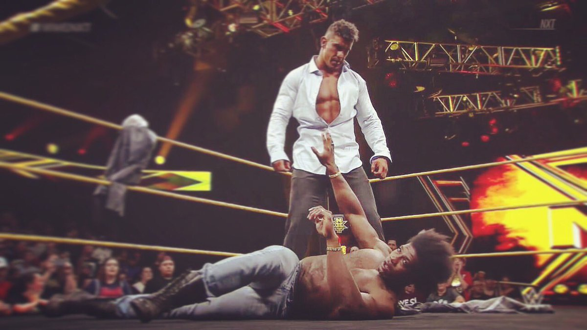 """The Purple Rainmaker"" vs. ""NXT's Golden God.""  ""The One"" vs. ""The Top One Percent.""  A ""Velveteen Dream"" vs. A ""Man-Tanned Nightmare.""  Sweet little VD vs EC3.  8/18  #nxttakeoverbrooklyn #wwenxt #nx3<br>http://pic.twitter.com/gpkYUWcHfa"
