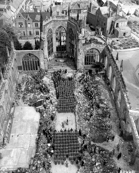 Wounded U.S. soldiers attending a Mother&#39;s Day services in a destroyed Coventry Cathedral, 1945. <br>http://pic.twitter.com/PyLMsZDdOH