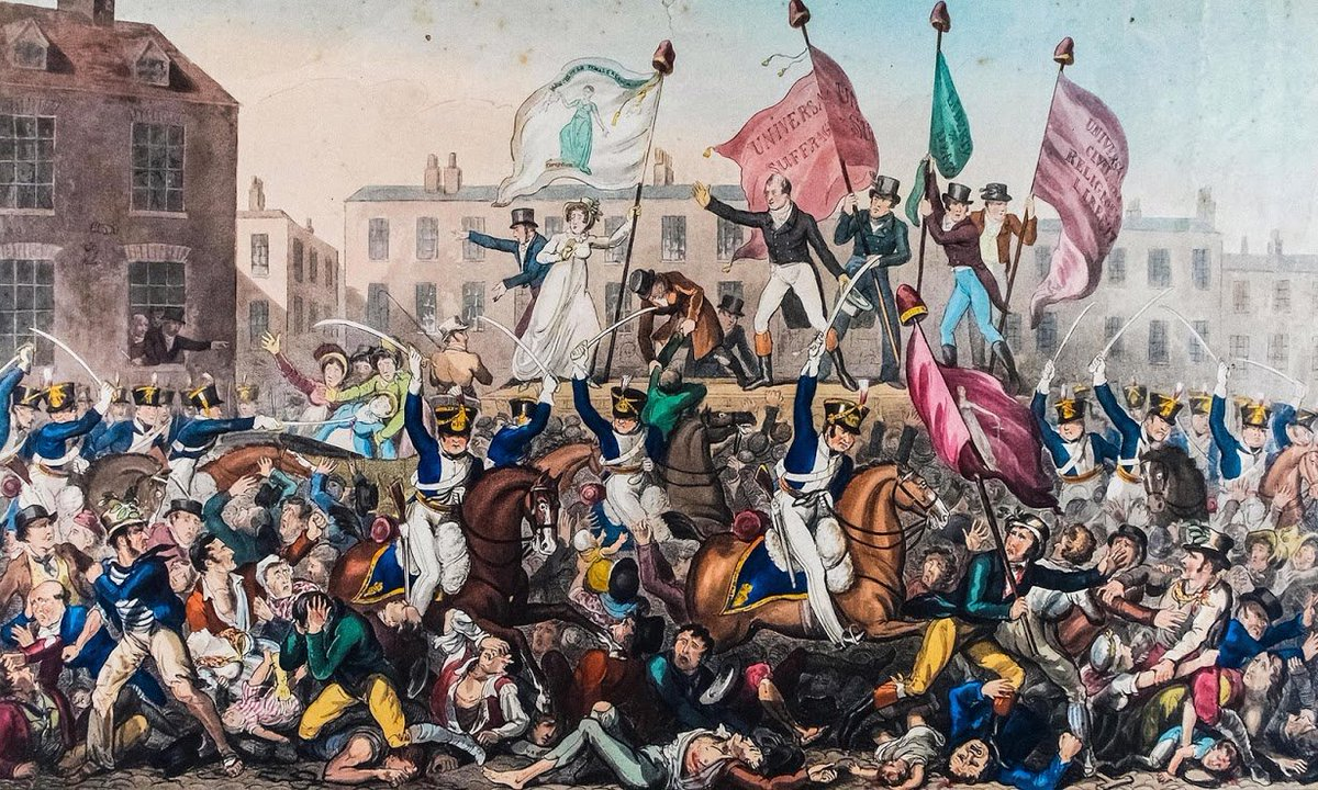 On this day in 1819 dozens of peaceful protestors were killed and hundreds injured at the Peterloo Massacre  The site was chosen by @DavidOlusoga as one of our #100Places  https://t.co/0YLcC2na32