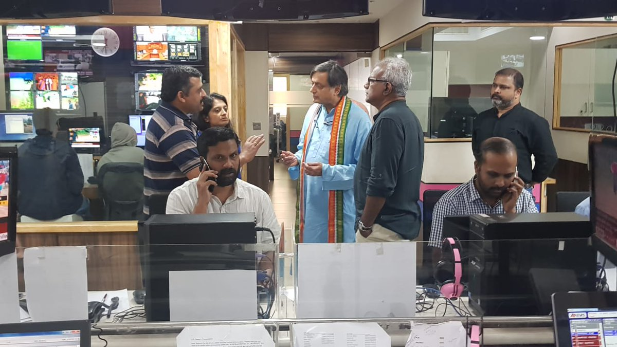 Dropped into the newsroom of @asianetnewstv to commend them on their exemplary 24x7 coverage of the #KeralaFloods. They pulled all commercials & ad breaks to cover the unfolding crisis in a remarkable demonstration of commitment to news above profit. May our media ever improve!