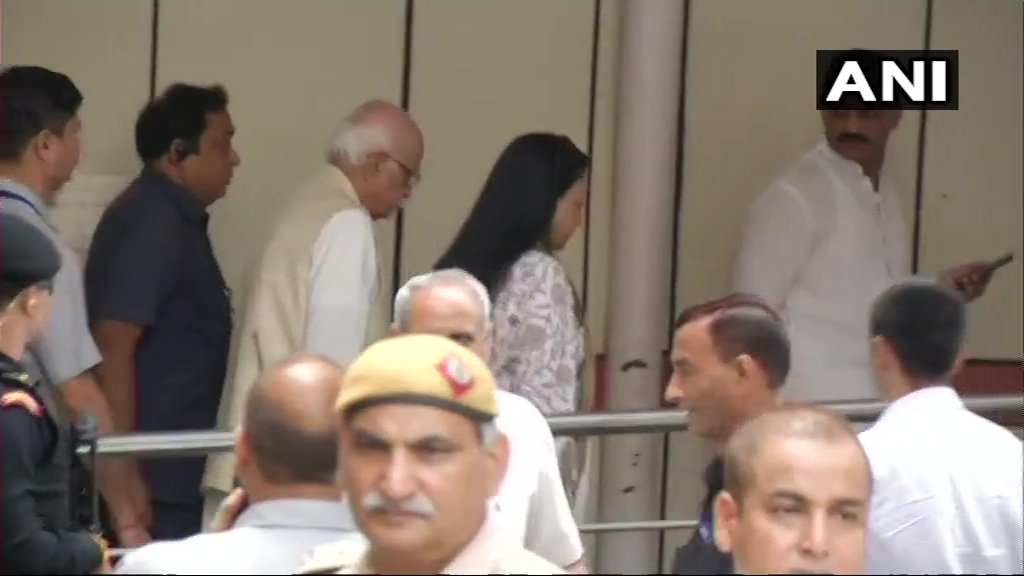 Senior BJP leader LK Advani and daughter Pratibha Advani arrive at All India Institute of Medical Sciences where former Prime Minister Atal Bihari Vajpayee is admitted. Vajpayee's condition is critical & he is on life support system