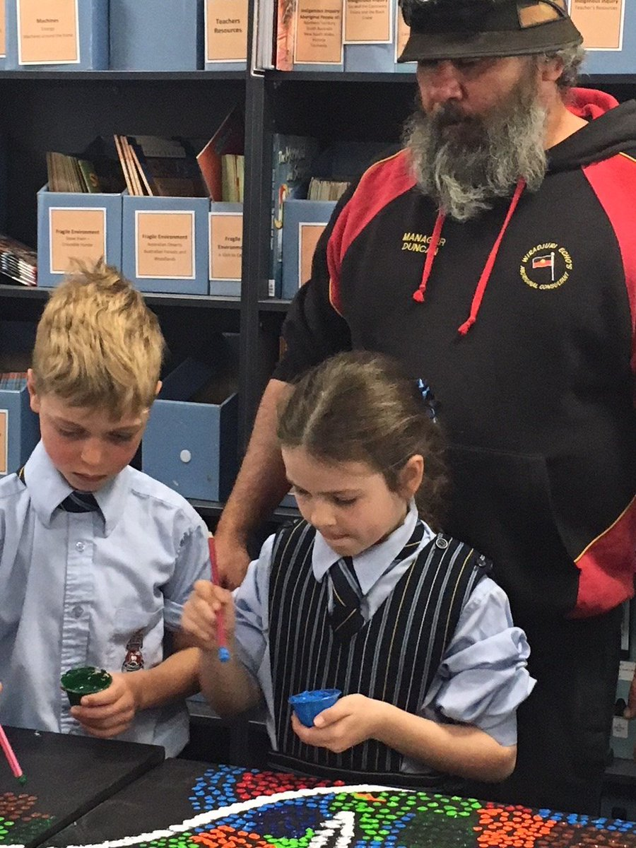 Year 3 were very excited to host award-winning Indigenous artist Duncan Smith today. The students are studying the idea of 'people are connected to places' in their PYP Unit of Inquiry and took the opportunity to find out about Duncan's home place, Wiradjiri country.