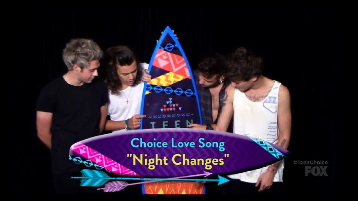 Today (August 16) in 2015 - the boys accept EIGHT Teen Choice Awards--Choice Music Group: Male, Music Single: Group (SMG), Love Song (Night Changes), Party Song (No Control), Summer Music Star: Group, Summer Tour, Male Hottie, and Selfie Taker!!  <br>http://pic.twitter.com/zkPNwwJINj